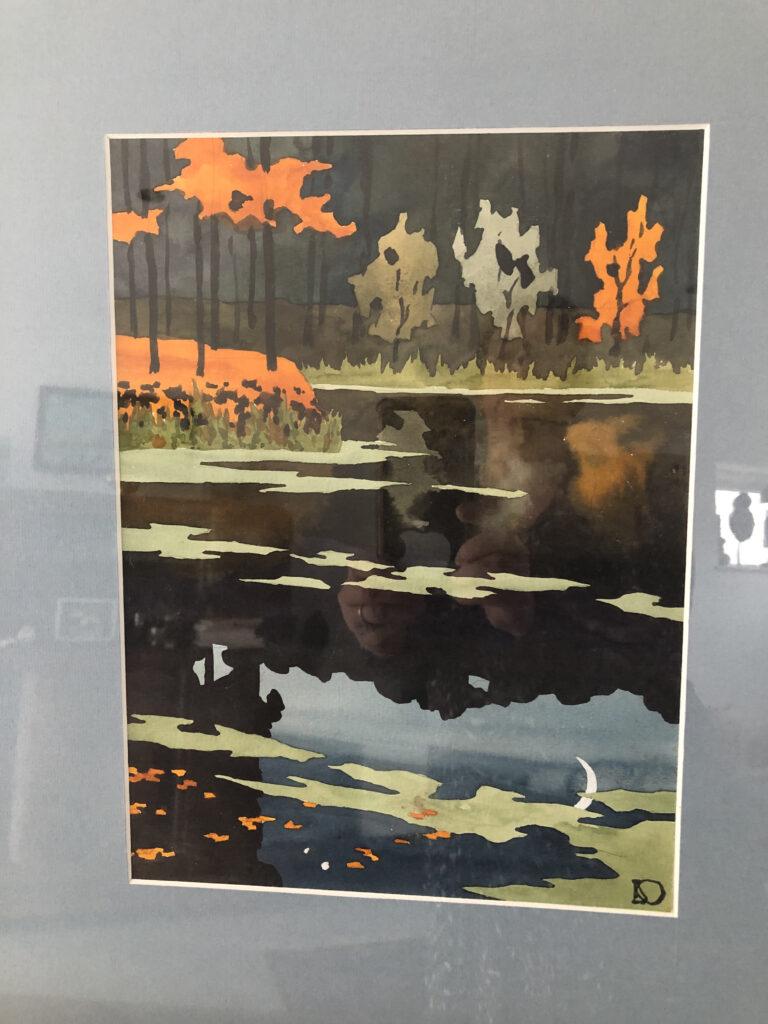 Aquarelle representant un point d'eau, signée ( non lisible), encadrée. Dim: 50,5 x 40,5 cm.