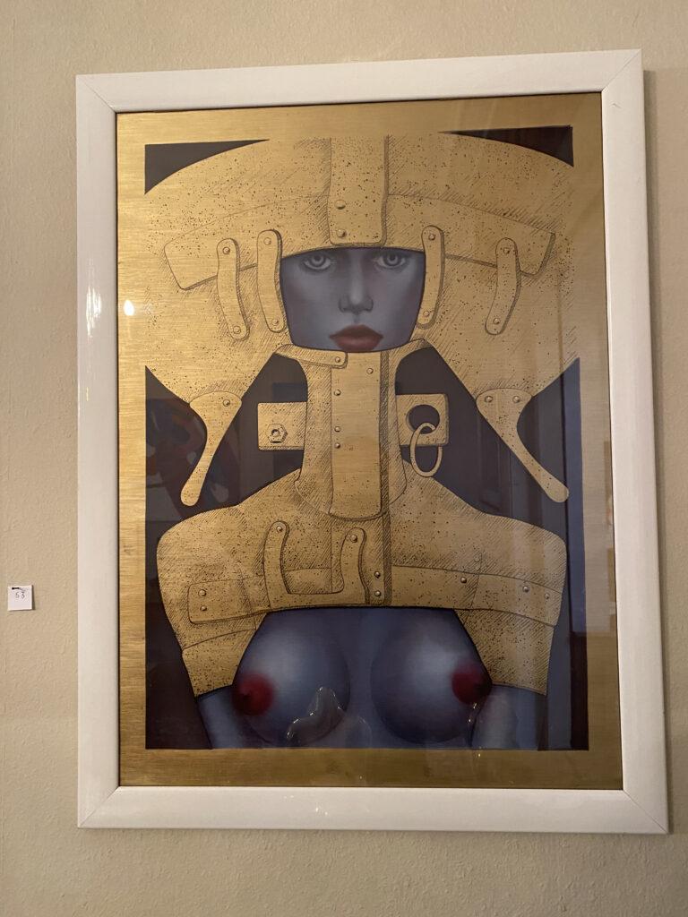 """""""Femme cosmique"""", Jef VAN TURENHOUT (1926-2006), technique mixte. Encadrée sous verre."""